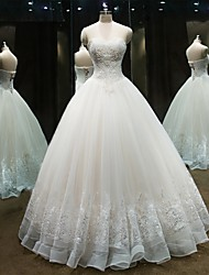 Princess Wedding Dress Floor-length Strapless Lace / Tulle with Beading / Lace