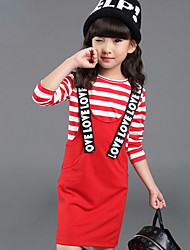 Girl's Casual/Daily Striped Dress,Cotton Fall Black / Red