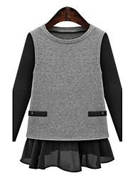 Women's Plus Size Street chic Regular Pullover,Patchwork Black / Gray Round Neck Long Sleeve Cashmere Fall Medium