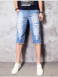 Masculino Jeans Casual Letra Algodão Azul