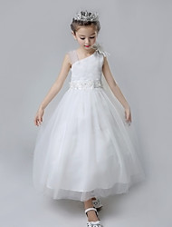 Ball Gown Tea-length Flower Girl Dress - Cotton Satin Tulle Straps with Flower(s) Ruffles