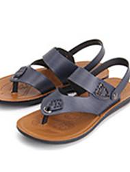 Men's Sandals Summer Open Toe / Sandals Leather Casual Flat Heel Others Blue Walking