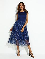 Mujer Corte Swing Vestido Casual/Diario / Tallas Grandes Vintage,Floral Escote Barco Maxi Manga Corta Azul Seda Verano Tiro Alto