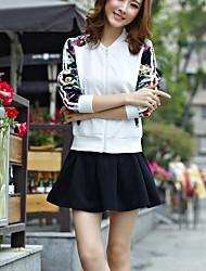 Women's Sports Active Fall Set Skirt,Print Round Neck Long Sleeve White / Black Rayon Medium