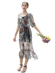 Women's Beach / Holiday Boho Shift Dress,Floral V Neck Midi ¾ Sleeve Gray Polyester Summer / Fall