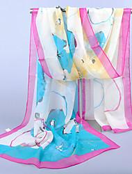 Women's Chiffon Flowers Print Scarf,Blue/Fuchsia/white/Royal Blue/Orange