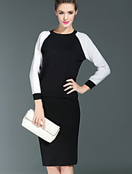 Boutique S Formal Simple Spring / Summer Set Skirt,Color Block Crew Neck Long Sleeve Red / Black Cotton / Polyester