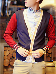 Men's Color Block Casual Cardigan,Cotton Long Sleeve Black / Green / Red