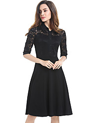 Women's Plus Size / Casual/Daily / Work Street chic Lace Sheath Dress,Solid Shirt Collar Knee-length ¾ Sleeve