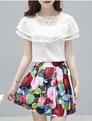 Damen Solide / Blumen Einfach Lässig/Alltäglich Bluse Rock,Rundhalsausschnitt Sommer Kurzarm Weiß Baumwolle Mittel