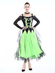 Ballroom Dance Outfits Women's Performance  4 PiecesFuchsia / Green / Red / Royal Blue / Lake