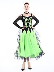 Dança de Salão Roupa Mulheres Actuação Elastano Poliéster 4 Peças Manga Comprida Vestido Neckwear Braceletes