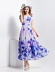 BORME® Women's Round Neck Short Sleeve Bohemia Floral Print Maxi Dress-Z127