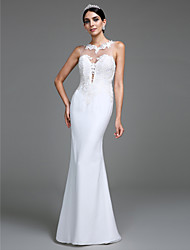 Lanting Bride® Trumpet / Mermaid Wedding Dress Floor-length Jewel Tulle with Appliques