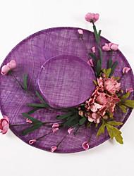 OUFULGA Handmade High-grade Flowers linen Hat Wedding Tiara