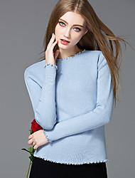 Mara Carol® Women's Round Neck Long Sleeve Sweater & Cardigan Blue / Purple-7619788