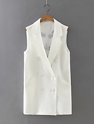 Women's Formal Simple Spring BlazerEmbroidered Notch Lapel Sleeveless White / Black / Yellow Cotton Medium
