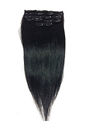 "15""#1 Jet Black Clip In Remy Human Hair Extensions   8Pcs/70g"