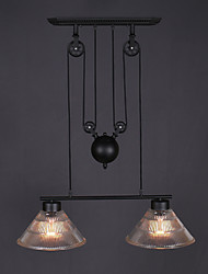 Double Heads Industrial Metal with Glass Painting Pully Pendant Lamp Decorate for the Indoor Adjustable Light