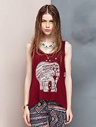 Women's Going out Simple Summer Tank Top,Animal Print Strap Sleeveless Red Rayon / Spandex Thin
