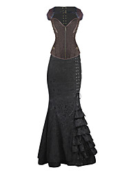 Burvogue Women's Jacquard Steel Boned Overbust Steampunk Corset Dress Tops