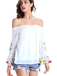 Women's Casual/Daily Sexy Fall Blouse,Embroidered Boat Neck Long Sleeve White / Black Polyester Opaque