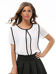 Women's Going out Simple / Street chic Fashion Chiffion All Match Summer Blouse,Color Block Round Neck Short Sleeve
