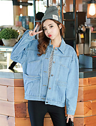 Women's Casual/Daily Simple Spring / Fall Denim Jackets,Solid Stand Long Sleeve Blue Cotton Medium