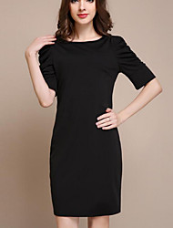 Women's Casual/Daily Simple Sheath Dress,Solid Round Neck Above Knee ½ Length Sleeve Black Polyester Summer