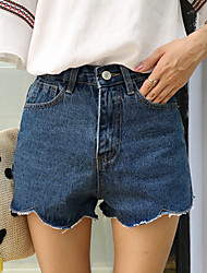 Women's Solid Blue / White Jeans / Shorts Pants,Simple