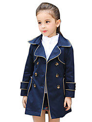 Girl's Cotton Spring/Autumn Fashion Solid Color Double-breasted Casual Jacket Trench Coat