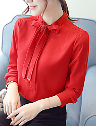 Women's Stand Collar with Belt Chiffon Long Sleeve Blouses Shirt