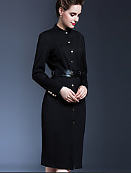 Women's Casual/Daily Simple Sheath Dress,Solid Stand Midi Long Sleeve Black Polyester Fall
