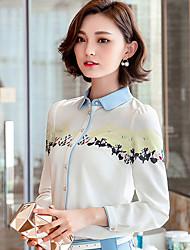 Women's Doll Collar Chiffon Prints Long Sleeve Blouses