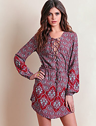 Women's Casual/Daily Sexy Loose Dress,Print Asymmetrical Above Knee Long Sleeve Red Polyester Summer