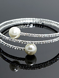 18k Silver Crystal Pearl Double Layer Elastic Bangle Bracelet for Women