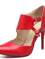 Mujer-Tacón Stiletto-Tacones / Puntiagudos-Tacones-Vestido / Casual / Fiesta y Noche-PU-Negro / Rojo / Almendra / Leopardo