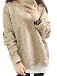 Damen Standard Pullover-Lässig/Alltäglich Einfach Solide Beige / Grau Rundhalsausschnitt Langarm Polyester Frühling Mittel Mikro-elastisch