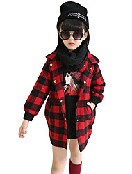 Girl's Casual/Daily Plaid Suit & Blazer / Jacket & Coat,Rayon Winter / Spring / Fall Red / Yellow