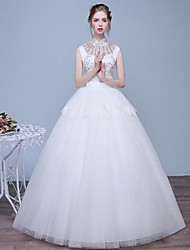 A-line Wedding Dress Floor-length High Neck Lace / Tulle with Beading / Lace