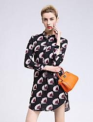 joj de las mujeres que van hacia fuera el vestido de la envoltura atractiva / lindo, cuello redondo de impresión