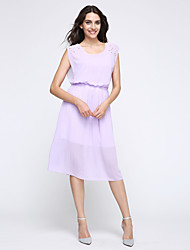 Women's Going out Cute Chiffon / Swing Dress,Solid Round Neck Midi Sleeveless Blue / Pink / White / Black / Purple Polyester SummerMid