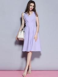 Sybel Frauen Ausgehen / einfache Etuikleid, fest mit V-Ausschnitt knielangen ärmel lila Polyester / Spandex