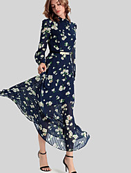 Women's Casual/Daily Vintage Swing Dress,Floral Shirt Collar Maxi Long Sleeve Blue Polyester Fall / Winter