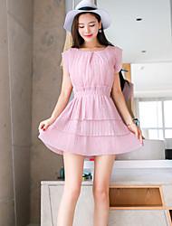 Damen Skater Kleid-Lässig/Alltäglich Niedlich Solide Rundhalsausschnitt Übers Knie Kurzarm Rosa Kunstseide Sommer Hohe Hüfthöhe