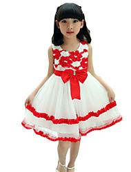 Vestido Chica de-Noche-Un Color-Algodón-Verano-Azul / Rosa / Rojo