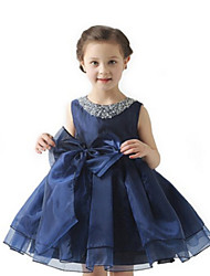 Ball Gown Knee-length Flower Girl Dress - Organza Sleeveless Jewel with Beading / Bow(s)