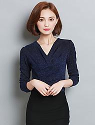 Tee-shirt Aux femmes,Couleur Pleine Sortie / Grandes Tailles Chic de Rue Automne Manches Longues Col en V Bleu / Rouge / Noir Polyester