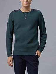 Men's Patchwork Casual Pullover,Cotton Long Sleeve Blue / Green / Red
