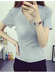 Damen Standard Pullover-Lässig/Alltäglich Einfach Solide Rot / Grau V-Ausschnitt Kurzarm Baumwolle Sommer Mittel